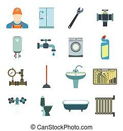 sanitario, ingegneria, appartamento, icone