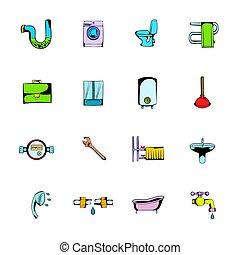 sanitario, ingeniería, cómicos, iconos, conjunto, caricatura