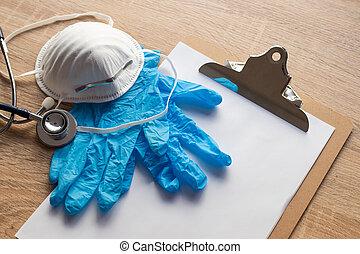 sanitario, protección, guantes, máscara, material