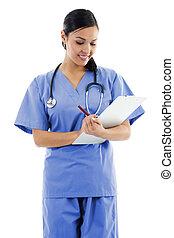 sanitarny pracownik, samica, troska