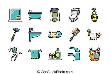 Sanitary and bathroom icons set, eps10