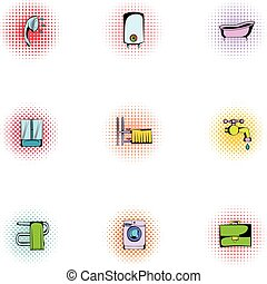 Sanitary appliances icons set, pop-art style