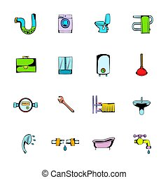Sanitary engineering comics icons set cartoon