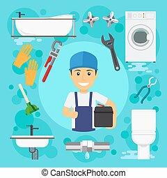 Sanitary engineering. Plumber at plumbing work