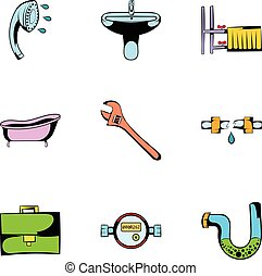 Sanitary icons set, cartoon style