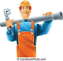 sanitary technician with tube and vector illustration ...