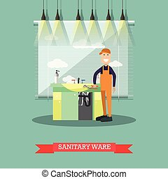 Sanitary ware concept vector illustration in flat style -...