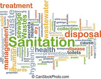 Background concept wordcloud illustration of sanitation