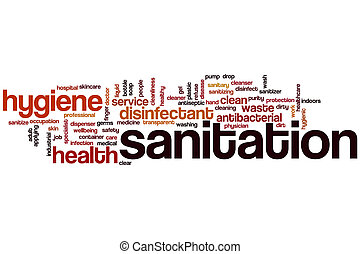 Sanitation word cloud concept
