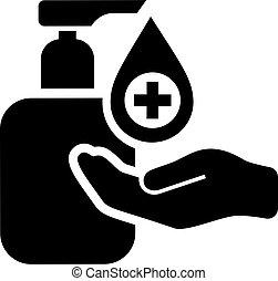 sanitise, manos, icono, su, desinfectar, vector
