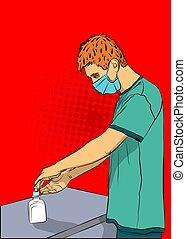 sanitizer, καθάρισμα , gel., άντραs , ανάμιξη , δικός του