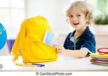 sanitizer., child., figure, école, sac à dos, masque