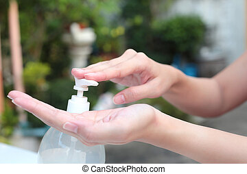 sanitizer., handwäsche, pumpe, frau reicht, verteiler, gebrauchend, gel