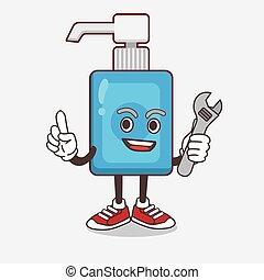 sanitizer, mão, mecânico, personagem, caricatura, feliz, mascote