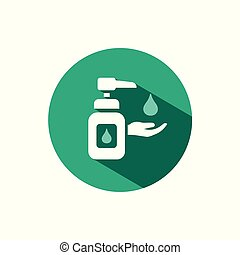Sanitizer soap icon with shadow on a green circle. Vector pharmacy illustration