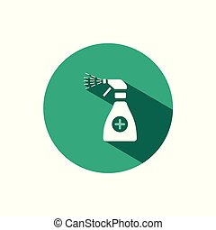 Sanitizer spray icon with shadow on a green circle. Vector pharmacy illustration