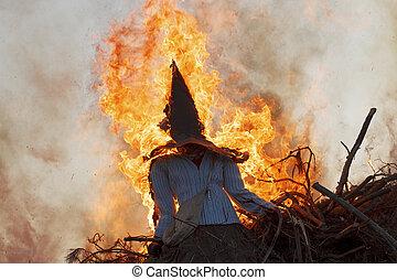 Sankt Hans - Skt Hans in Denmark. The witch is burned at...