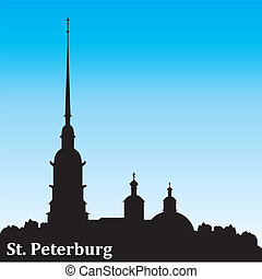 sankt, petersburg, silueta
