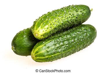 sano, aislado, pepinos, comida., fondo verde, blanco