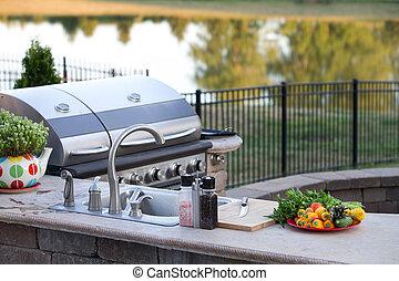 sano, al aire libre, preparando, cocina, comida