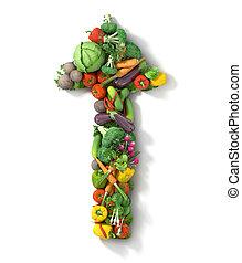 sano, arrow., vegetales, alimento, concept.