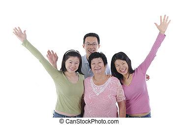 sano, asiático, familia