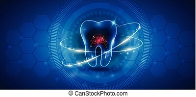 sano, astratto, dente, trattamento, icona