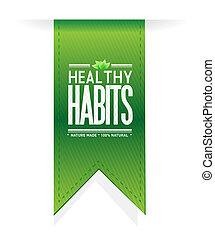 sano, bandera, concepto, hábitos, señal