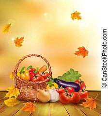 sano, basket., verdura, illustrazione, cibo., autunno, vettore, fondo, fresco
