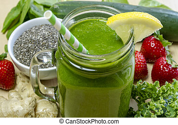 sano, bebida del jugo, verde, zalamero