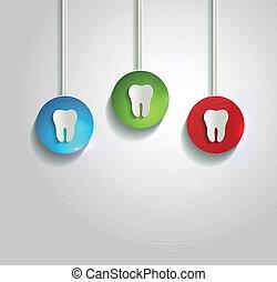 sano, bianco, simbolo, fondo, dente