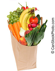 sano, bolsa, tienda de comestibles, lleno, fruits