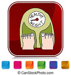 sano, botón, escala, peso
