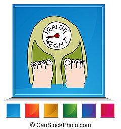 sano, bottone, scala, peso
