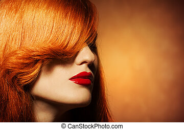 sano, capelli, luminoso, portrait., bellezza