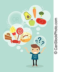 sano, carácter, comida rápida, escoger, entre, caricatura,...