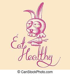 sano, cartel, comer