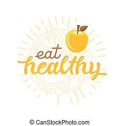 sano, cartel, de motivación, -, comer