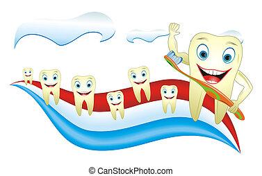 sano, cepillo de dientes, feliz, diente