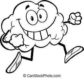 sano, cerebro, contorneado, jogging