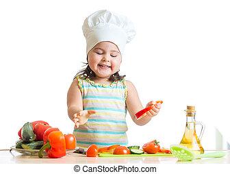 sano, cibo, preparare, bambino, ragazza, cucina