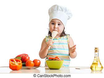 sano, cibo, ragazza, preparare, capretto