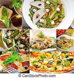 sano, collage, sabroso, italiano de comida