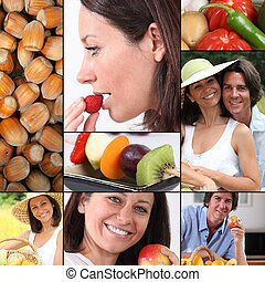 sano, comida, mosaico