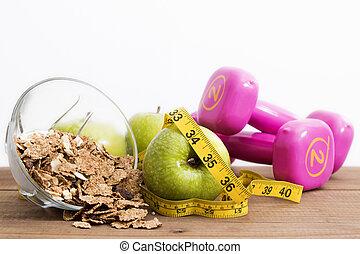 sano, concepto, comida, dieta