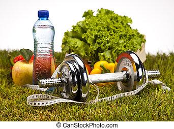 sano, concepto, estilo de vida, vitamina