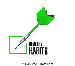 sano, concepto, hábitos, cheque, dardo