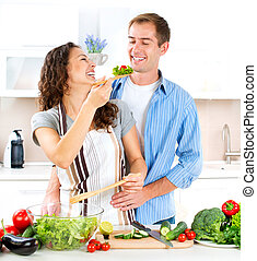 sano, coppia, cibo cucina, dieting., insieme., felice