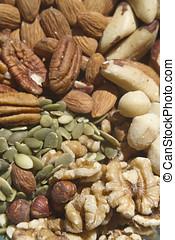 sano, crudo, semillas, nueces