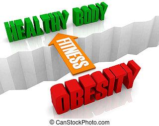 sano, cuerpo, obesidad